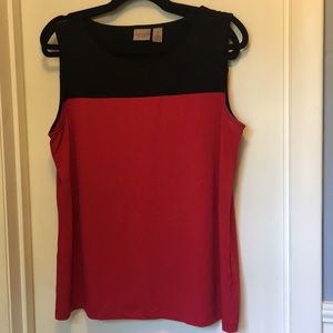 Chico's Tank/Shell Black & Red Sz 2/Large